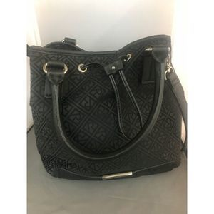 Black Relic Crossbody Purse with Leather Trim